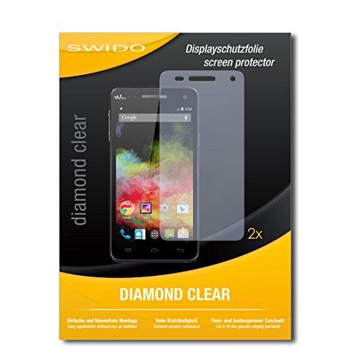 SWIDO 2 x Bildschirmschutzfolie Wiko Rainbow 4G Schutzfolie Folie DiamondClear unsichtbar