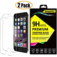 4youquality [2-Pack} iPhone 6 6S Screen Protector, Premium 9H Tempered Glass Film [LifetimeWarranty][Scratch-Resistant][Anti-Shatter][3D Touch Compatible] Screen Protector for Apple iPhone 6 6S (4.7 Inch)