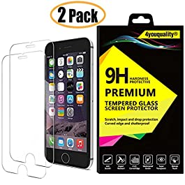 4youquality [2-Pack] iPhone 6 6S Screen Protector, Premium Tempered Glass Film [LifetimeWarranty][Scratch-Resistant][Anti-Shatter] Screen Protector for Apple iPhone 6 6S (4.7inch)