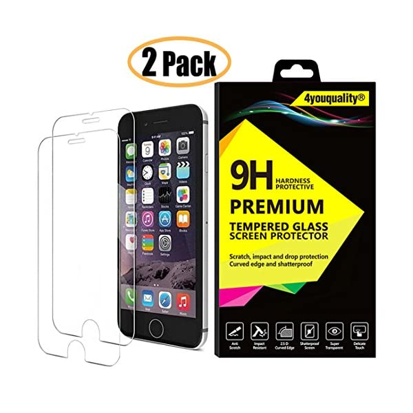 4youquality [2-Pack] iPhone 6 6S Screen Protector, Premium Tempered Glass Film [LifetimeWarranty][Scratch-Resistant][Anti-Shatter] Screen Protector for Apple iPhone 6 6S (4.7inch) 51o6qqFB5NL