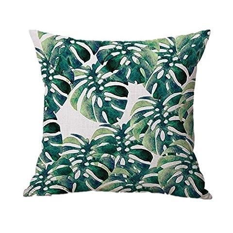 Indexp Naturel Aloe Feuille de bananier Impression Couvre-lit Housse de coussin Canapé Taie d'oreiller Décoration de la Maison, Style D, 43cm*43cm/16.9*16.9inch