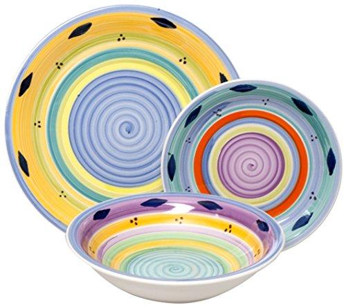 Excelsa Esprit Servizio Piatti 18 Pezzi, Ceramica, Multicolore, unità