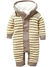 MNBS Invierno peleles bebe raya encapuchado suéter sweater abrigos bebe niño ninas sudaderas suéter ropa