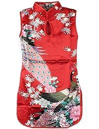 Robe Chinois Qipao Fille Enfant été Mode Cheongsam Classique Paon Floral