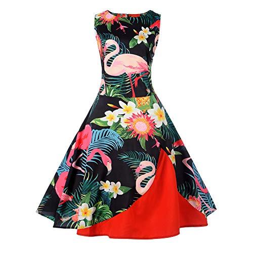 JJHR Kleider Frauen Kleid Tropical Print Knielangen Schaukel Kleid O Neck Sleeveless Hohe Taille Reißverschluss Sommer Unregelmäßige Kleider (Frauen-reißverschluss-kleid)