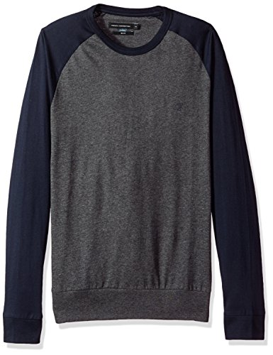 French Connection Herren T-Shirt Classic Raglan Crew, Multicoloured (Black Char Mel/Marine Blu), X-Large (Ultimate Herren Polo-shirt Xl)
