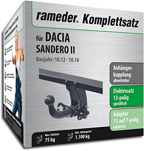 Rameder Komplettsatz, Anhängerkupplung abnehmbar + 13pol Elektrik für DACIA SANDERO II (113471-10963-1)