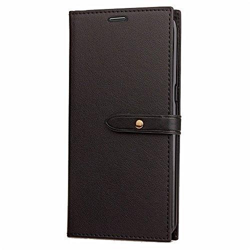Business Style Mixed Farben Slim Design PU Ledertasche Brieftasche Stand Case [Shockproof] mit Niet Echtes Leder Gürtel & Kickstand & Card Slots für Huawei P8 Lite 2017 ( Color : Wine ) Black