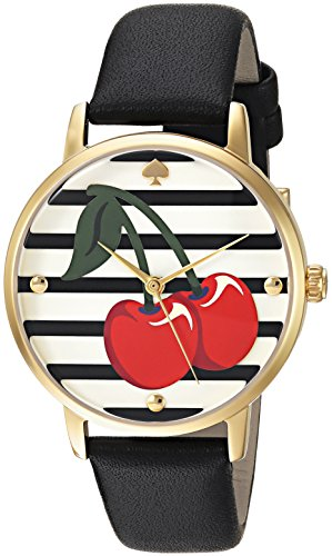 Kate Spade Women's 34mm Black Leather Band Steel Case Quartz Watch KSW1343