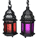 Gifts & Decor Red And Mulberry Glass Moroccan Candle Holder Hanging Lantern
