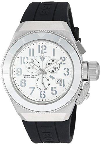 Swiss Legend uomo Trimix Diver Black silicone Band Steel case Swiss Quartz Watch 13844–02-sa-blk