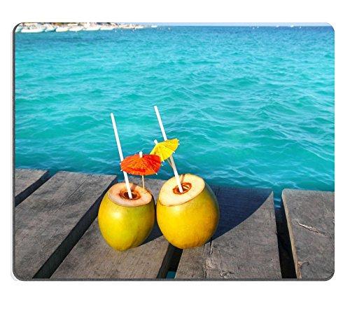 Liili alfombrilla de ratón alfombrilla de ratón de goma natural imagen ID: 9416966Coco Coktails en Caribe en madera muelle turquesa mar