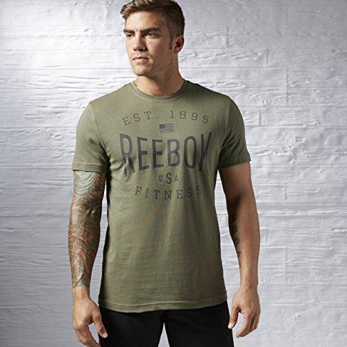 Reebok abbigliamento donna USA brand Graphic Tee, Unisex, Oberbekleidung USA Brand Graphic Tee, verde, S