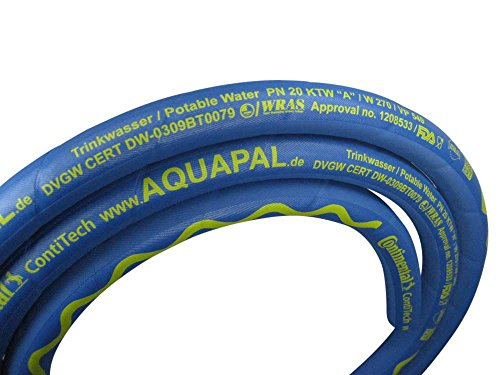 Trinkwasserschlauch AQUAPAL nach KTW-A, W270, Meterware: 1m bis 40m am Stück, in 3 Abmessungen für Lebensmittel- und Getränkeindustrie, Großküchen, Schlauchabmessung:13mm (1/2 Zoll)