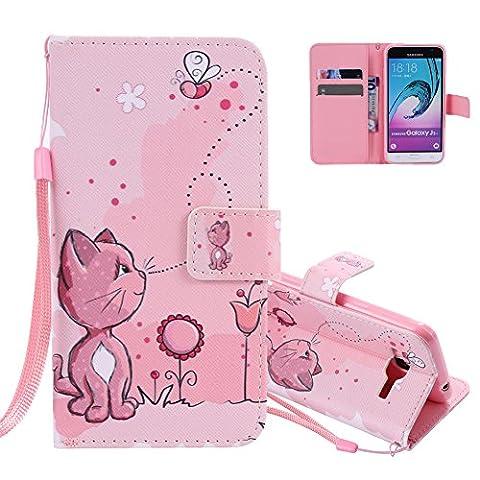 Aeeque® Rose Coque de Protection pour Samsung Galaxy J3 2016, Étui à Rabat en PU Cuir Bumper [Chat Mignon] Motif Imprimé Antichoc Samsung J3 2016 5.0