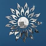 Vinilo retro espejo de pared sol y rayos plateados