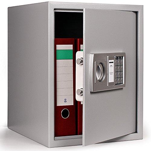 Deuba elektrischer Tresor | 35x40x40cm XXL | 4mm Türstärke | Doppelbolzenverriegelung | inkl. Montagematerial | Dokumententresor Wandtresor Dokumentensafe Möbeltresor Sicherheitsschrank