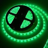 5M Bandes LED Flexibles 12V, Ruban LED, vert, 300 unités 5050 SMD LEDs, Imperméable IP65, décoration luminaire d'intérieur, moderne pour la fête Noël/ Sapin [Classe énergétique A+]