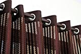#7: Exporthub 2 Piece Fancy Sparkling Sheer Strip Premium Net Curtains - Brown, Coffee