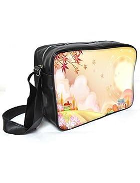 Snoogg Bunte Stadt 2609Leder Unisex Messenger Bag für College Schule täglichen Gebrauch Tasche Material PU