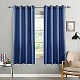 CKNY 2 Stücke Vorhänge Gardine halb transparent Lässige Vorhang Wohnzimmer mit Schlaufen, 175 x 140cm (H x B),2er-Set, Dunkel Blau