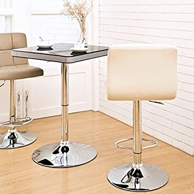 Duhome 0293 Set Of Two Bar Stools Imitation Leather with Quilted Backrest Height-Adjustable CREAM