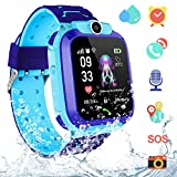 Kinder Intelligente Uhr Wasserdicht - Kids Smartwatch AGPS LBS Tracker, Intelligentes Uhrtelefon mit SOS Anruf Sprachchat Kamera Wecker, Scherzt Kinder Smartwatch für Jungen Mädchen...