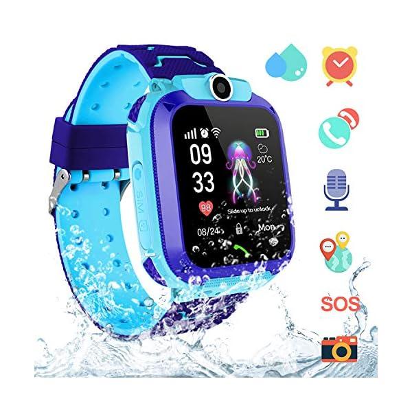 Smartwatch Niños IP67 Impermeable - AGPS LBS Tracker Localizador Reloj Inteligente Niños, Smartwatch Niña con Cámara SOS Chat de Voz Juego Alarma, Reloj Inteligente Niña Compatible con iOS Android 1