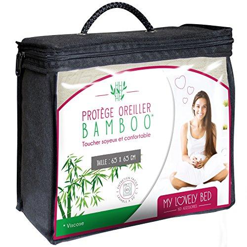 mylovelybed–Protege almohada–viscosa de bambú–Soyeux y confortable–Cierre por Zip, 65 x 65 cm