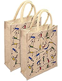 Jute Lunch Bag - Pack Of 2 Yoga Print For Everyday Use And Is Easy To Clean With Top Zipper (Size: 10x5x12 Inch)