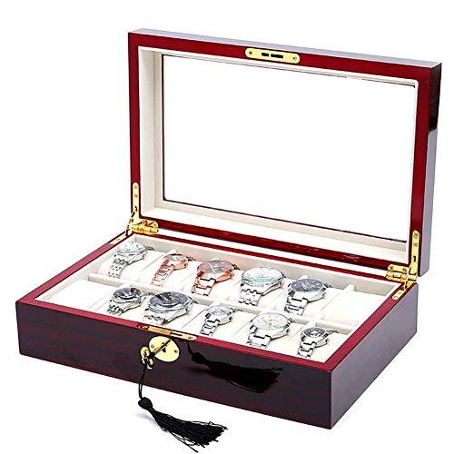 LJXiioo 12 Slots Holz Uhr Vitrine Glas Top Schmuck Sammlung Aufbewahrungsbox Organizer Gläser Sammlung