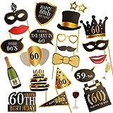 Kissdate 24pcs 60E anniversaire Photo Booth Props, drôle DIY Kit pour homme femme anniversaire 60ans Décoration de fête et dragées (Noir et Doré)