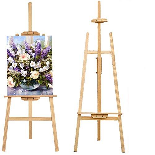 Caballete de estudio de madera con marco en A y caballete plegable de madera de pino, para sujetar tableros de dibujo, lienzo, cuadros, manualidades, pintura y soporte artístico