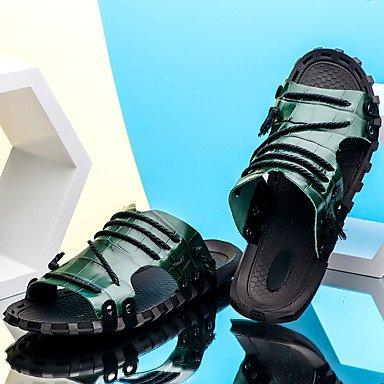 Slippers & amp da uomo;Comfort in pelle Ufficio & amp;Carriera Casual Blu Verde Rosso Marrone Nero Sa sandali US7 / EU39 / UK6 / CN39