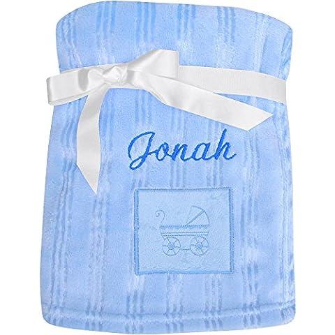 Couverture de landau en polaire ultradouce personnalisable avec le prénom de bébé, pour filles et garçons, Polaire/polyester, bleu, 100 x 75 cm