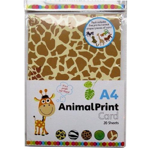 A4 sortiert Tierdruckkarte - 20 A4 Blätter & 5 shaped - Giraffen, Eidechse, Zebras, Geparden und Leoparden (Zebras Und Geparden)