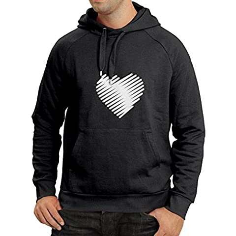 Hoodie Stylish Heart, I love you gifts Valentines day outfits (Medium Black White)