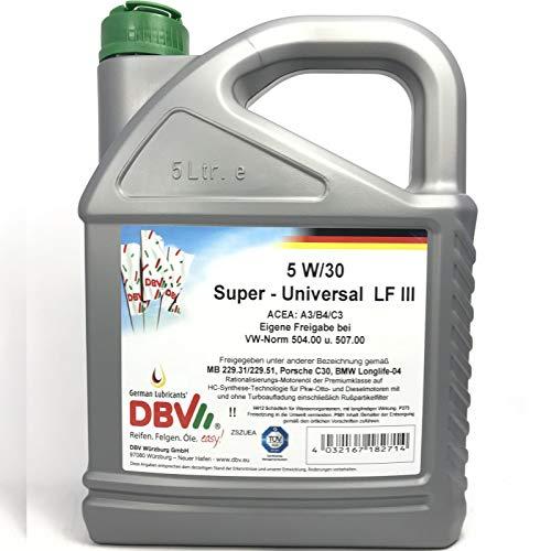 Preisvergleich Produktbild 5 Liter DBV Motorenöl 5W-30 LL SAPS Super Universal