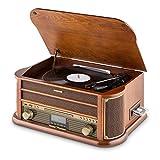 AUNA Belle Epoque 1908 - Tourne-Disque rétro, Radio numérique, Chaîne stéréo, Dab+, Platine Vinyle, Bluetooth, Lecture MP3,...