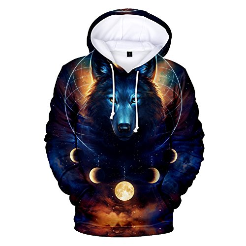 r Herren 3D Wölfe Mit Kapuze Sweatshirts ()