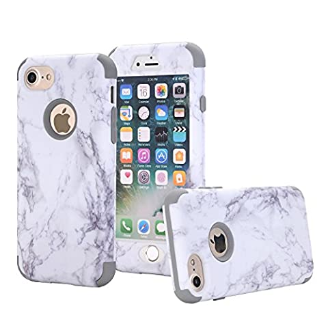 xifanzi 360 Full Protective Case for iPhone 7 Hard Hybrid Plastic Slim Cover for iPhone 7 Marble Pattern Grey Back Cover Full Body Coverage Cell Phone Protection for Apple iPhone 7