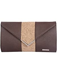 Veuza Berlin Premium Jacquard And Faux Leather Choco Brown Women's Clutch