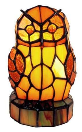 """Lampe de table """"hiboux orangé"""" de style Tiffany - Elisabeth Creacion"""