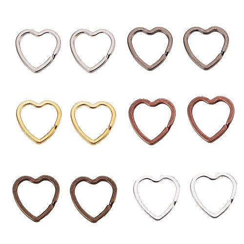 PandaHall Elite 12 Stück Eisen Split Schlüsselanhänger, Herzform Flache Schlüsselanhänger Ring Split Ring für Home Car Keys Organisation, 6 gemischte Farben