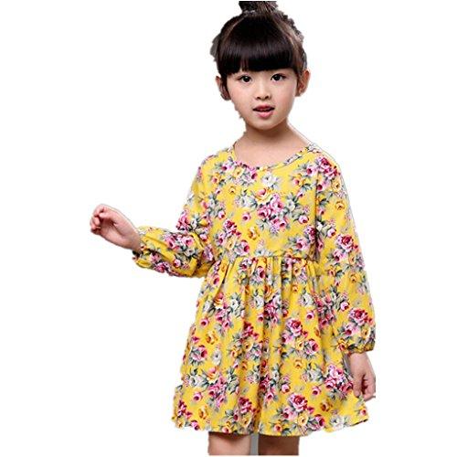 Amlaiworld Sommer Baby Gemütlich Hirtenstil Langarmshirt Kleid Mädchen locker Bunte Blumen Druck Kleid niedlich Sport Kleinkind blusen Baumwolle süße Dress, 2-10 Jahren alt (3 Jahren, Gelb)