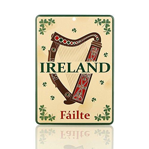Eburya Irish Harp Blechschild mit irischer Harfe & Kleeblättern