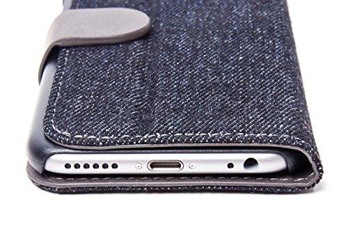 ICH&DU Smartphone Case Paris | Zubehör für Original Apple iPhone 7 | Flache Klapphülle im Jeans-Look in blau/braun | mit Aufstellfunktion, Magnetverschluß und Visitenkartenfächern | Schutz-Hülle, Lede black/grey schwarz/grau