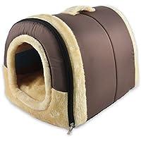ANPI 2 en 1 Casa y Sofá para Mascotas, Marron Lavable a Máquina Casa Nido Cueva Cama de Perro Gato Puppy Conejo Mascota Antideslizante Plegable Suave Calentar Con Cojín Extraíble, Grande
