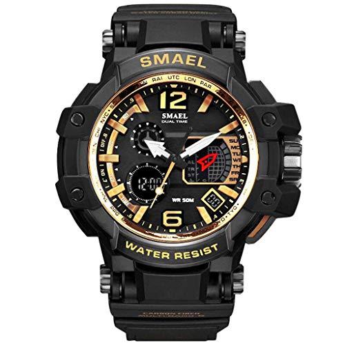 HHyyq Men's Watch Herrenuhr Outdoor Sports Multifunktions Leuchtende wasserdichte Dual Display Elektronische Uhr Digitaluhr Männer Uhren Pu Strap Military Armbanduhren(C) -