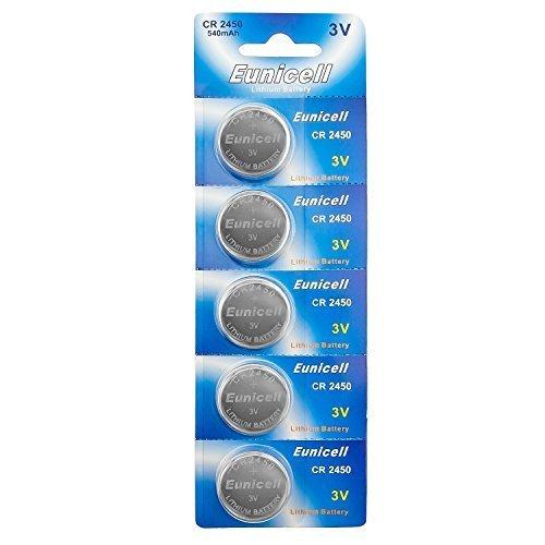 Eunicell CR2450 5029LC Lithium Blister Pack 3V 3 Volt Coin Cell Batteries (5 pcs) by Eunicell Lithium Blister Pack